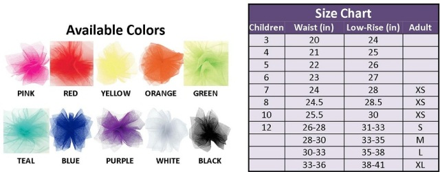 Glam Runner Tutu Color and Size Chart